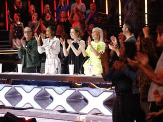 "AMERICA'S GOT TALENT -- ""Judge Cuts 3"" Episode 1410 -- Pictured: Howie Mandel, Gabrielle Union, Ellie Kemper, Julianne Hough -- (Photo by: Trae Patton/NBC)"
