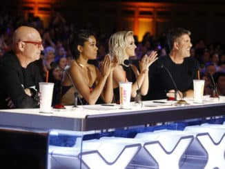 "AMERICA'S GOT TALENT -- ""Auditions 6"" Episode 1407 -- Pictured: (l-r) Howie Mandel, Gabrielle Union, Julianne Hough, Simon Cowell -- (Photo by: Trae Patton/NBC)"