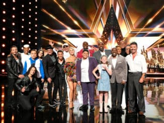 "AMERICA'S GOT TALENT -- ""Live Results 1"" Episode 1413 -- Pictured: (l-r) Messoudi Brothers, Gabrielle Union, Kodi Lee, Howie Mandel, Alex Dowis, Julianne Hough, Terry Crews, Luke Islam, Ansley Burns, Voices of Service, Greg Morton, Simon Cowell -- (Photo by: Justin Lubin/NBC)"