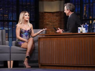 LATE NIGHT WITH SETH MEYERS -- Episode 877 -- Pictured: (l-r) Musical guest Maren Morris during an interview with host Seth Meyers on September 4, 2019 -- (Photo by: Lloyd Bishop/NBC)