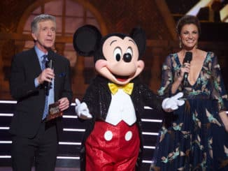 "DANCING WITH THE STARS - ""Disney Night"" - There will be Disney magic in the ballroom as nine celebrity and pro-dancer couples compete on the fifth week of the 2019 season of ""Dancing with the Stars,"" live, MONDAY, OCT. 14 (8:00-10:00 p.m. EDT), on ABC. (ABC/Eric McCandless) TOM BERGERON, MICKEY MOUSE, ERIN ANDREWS"
