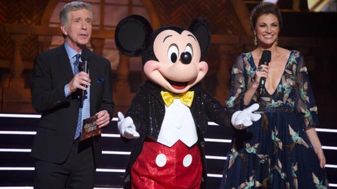"""DANCING WITH THE STARS - """"Disney Night"""" - There will be Disney magic in the ballroom as nine celebrity and pro-dancer couples compete on the fifth week of the 2019 season of """"Dancing with the Stars,"""" live, MONDAY, OCT. 14 (8:00-10:00 p.m. EDT), on ABC. (ABC/Eric McCandless) TOM BERGERON, MICKEY MOUSE, ERIN ANDREWS"""
