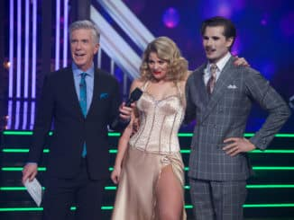 "DANCING WITH THE STARS - ""Halloween"" - All treats and no tricks as eight celebrity and pro-dancer couples return to the ballroom to celebrate Halloween and compete on the seventh week of the 2019 season of ""Dancing with the Stars,"" live, MONDAY, OCT. 28 (8:00-10:00 p.m. EDT), on ABC. (ABC/Eric McCandless) TOM BERGERON, LAUREN ALAINA, GLEB SAVCHENKO"