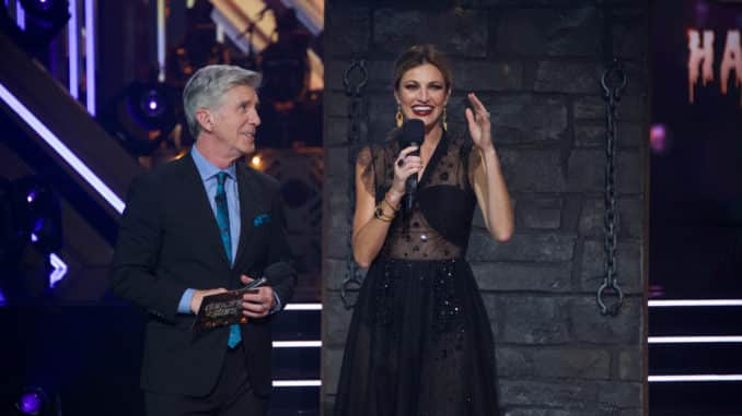 "DANCING WITH THE STARS - ""Halloween"" - All treats and no tricks as eight celebrity and pro-dancer couples return to the ballroom to celebrate Halloween and compete on the seventh week of the 2019 season of ""Dancing with the Stars,"" live, MONDAY, OCT. 28 (8:00-10:00 p.m. EDT), on ABC. (ABC/Eric McCandless) TOM BERGERON, ERIN ANDREWS"