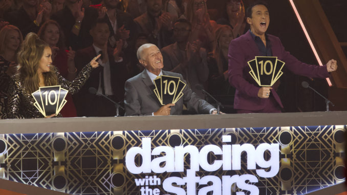 "DANCING WITH THE STARS - ""Dance-Off Week"" - Seven celebrity and pro-dancer couples return to the ballroom to compete on the eighth week of the 2019 season of ""Dancing with the Stars,"" live, MONDAY, NOV. 4 (8:00-10:00 p.m. EST), on ABC. (ABC/Kelsey McNeal) CARRIE ANN INABA, LEN GOODMAN, BRUNO TONIOLI"
