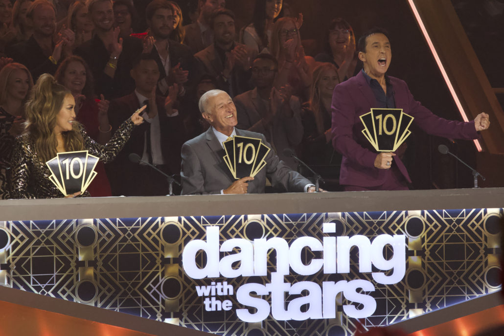 """DANCING WITH THE STARS - """"Dance-Off Week"""" - Seven celebrity and pro-dancer couples return to the ballroom to compete on the eighth week of the 2019 season of """"Dancing with the Stars,"""" live, MONDAY, NOV. 4 (8:00-10:00 p.m. EST), on ABC. (ABC/Kelsey McNeal) CARRIE ANN INABA, LEN GOODMAN, BRUNO TONIOLI"""