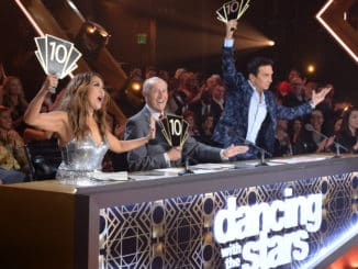 "DANCING WITH THE STARS - ""Semi-Finals"" - Five celebrity and pro-dancer couples return to the ballroom to compete on the 10th week of the 2019 season of ""Dancing with the Stars,"" live, MONDAY, NOV. 18 (8:00-10:00 p.m. EST), on ABC. (ABC/Eric McCandless) CARRIE ANN INABA, LEN GOODMAN, BRUNO TONIOLI"
