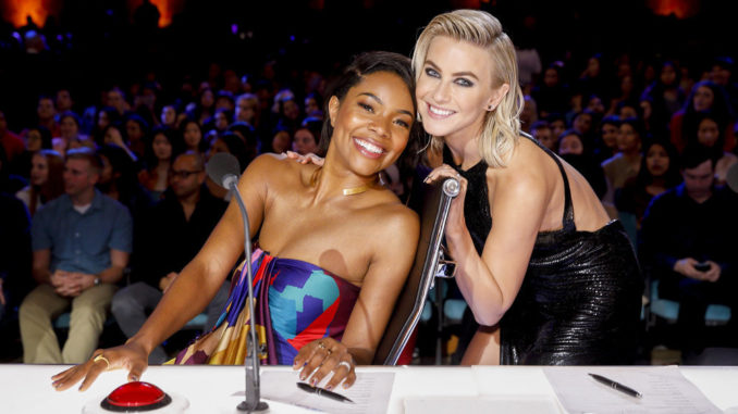 "AMERICA'S GOT TALENT -- ""Auditions 2"" Episode 1402 -- Pictured: (l-r) Gabrielle Union, Julianne Hough -- (Photo by: Trae Patton/NBC)"