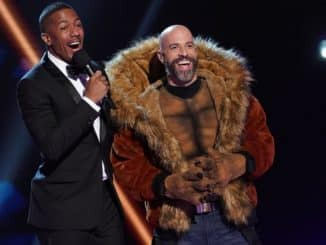 """THE MASKED SINGER: L-R: Host Nick Cannon and Chris Daughtry in the """"Road to the Finals / Season Finale: And The Winner Takes It All and Takes It Off"""" two-hour season finale episode of THE MASKED SINGER airing Wednesday, Dec. 18 (8:00-10:00 PM ET/PT) on FOX. CR: Lisa Rose / FOX ©2020 FOX MEDIA LLC."""