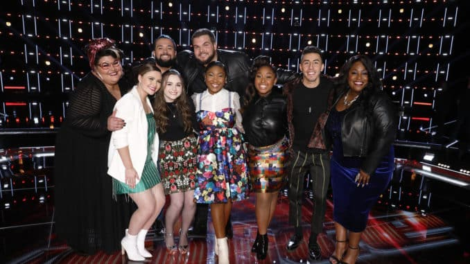 "THE VOICE -- ""Live Top 10 Eliminations"" Episode 1718B -- Pictured: (l-r) Katie Kadan, Marybeth Byrd, Will Breman, Kat Hammock, Jake Hoot, Hello Sunday, Ricky Duran, Rose Short -- (Photo by: Trae Patton/NBC)"