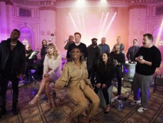 "THE TONIGHT SHOW STARRING JIMMY FALLON -- Episode 1178 -- Pictured: (l-r) Jason Derulo, Taylor Swift, Jennifer Hudson, Host Jimmy Fallon, Francesca Hayward, and James Corden during ""Cats 'Memory' Remix"" on December 18, 2019 -- (Photo by: Andrew Lipovsky/NBC)"