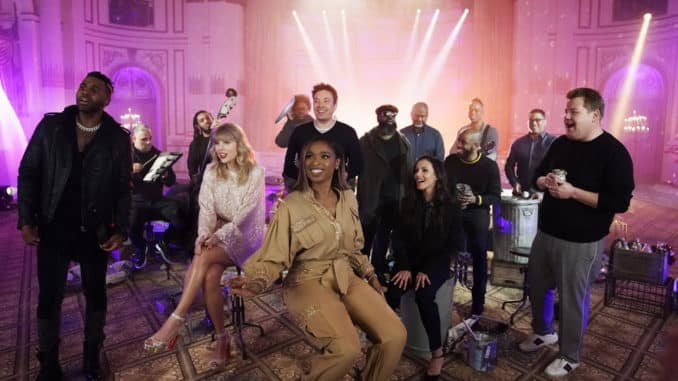 """THE TONIGHT SHOW STARRING JIMMY FALLON -- Episode 1178 -- Pictured: (l-r) Jason Derulo, Taylor Swift, Jennifer Hudson, Host Jimmy Fallon, Francesca Hayward, and James Corden during """"Cats 'Memory' Remix"""" on December 18, 2019 -- (Photo by: Andrew Lipovsky/NBC)"""