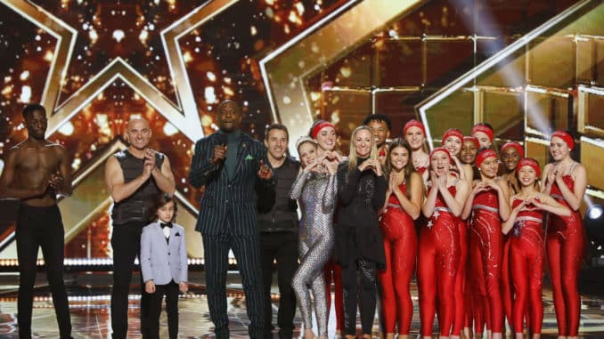 """AMERICA'S GOT TALENT: THE CHAMPIONS -- """"The Champions Four"""" Episode 204 -- Pictured: (l-r) Strauss Serpent, Sandou Trio Russian Bar, JJ Pantano, Terry Crews, Silhouettes -- (Photo by: Trae Patton/NBC)"""