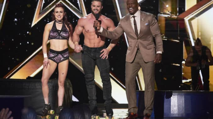 "AMERICA'S GOT TALENT: THE CHAMPIONS -- ""The Champions Semi Finals"" Episode 205 -- Pictured: (l-r) Duo Transcend, Terry Crews -- (Photo by: Tina Thorpe/NBC)"