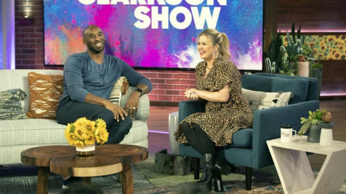 THE KELLY CLARKSON SHOW -- Episode 3042 -- Pictured: (l-r) Kobe Bryant, Kelly Clarkson -- (Photo by: Weiss Eubanks/NBCUniversal)