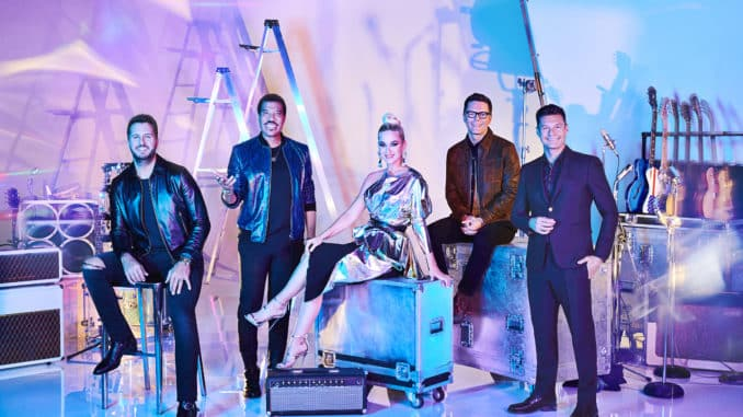 "AMERICAN IDOL – ABC's ""American Idol"" host Ryan Seacrest with judges Lionel Richie, Katy Perry and Luke Bryan, and in-house mentor Bobby Bones. (ABC/Gavin Bond) LUKE BRYAN, LIONEL RICHIE, KATY PERRY, BOBBY BONES, RYAN SEACREST"