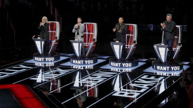 "THE VOICE -- ""Blind Auditions"" Episode 1802 -- Pictured: (l-r) Kelly Clarkson, Nick Jonas, John Legend, Blake Shelton -- (Photo by: Trae Patton/NBC)"