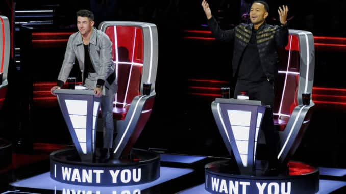 "THE VOICE -- ""Blind Auditions"" Episode 1804 -- Pictured: (l-r) Nick Jonas, John Legend -- (Photo by: Trae Patton/NBC)"