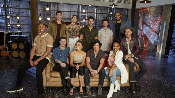 """THE VOICE -- """"Battle Reality"""" -- Pictured: (l-r) Samuel Wilco, Michael Williams, Jacob Miller, Joana Serenko, Allegra Miles, Nick Jonas, Kevin Farris, Tate Brusa, Arei Moon, Roderick Chambers, Anders Derup -- (Photo by: Trae Patton/NBC)"""