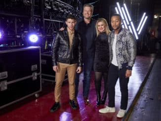 "THE VOICE -- ""Battle Rounds"" Episode 1806 -- Pictured: (l-r) Nick Jonas, Blake Shelton, Kelly Clarkson, John Legend -- (Photo by: Trae Patton/NBC)"