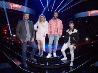 "THE VOICE -- ""Knockout Rounds"" Episode 1809 -- Pictured: (l-r) Blake Shelton, Kelly Clarkson, John Legend, Nick Jonas -- (Photo by: Trae Patton/NBC)"