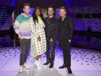 "SONGLAND -- ""Luis Fonsi"" Episode 202 -- Pictured: (l-r) Ryan Tedder, Ester Dean, Luis Fonsi, Shane McAnally -- (Photo by: Trae Patton/NBC)"