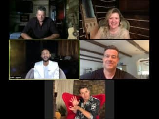 """THE VOICE -- """"Finale Performances Press Junket"""" -- Pictured in this screen grab: (top row l-r) Blake Shelton, Kelly Clarkson; (center row l-r) John Legend, Carson Daly; (bottom) Nick Jonas -- (Photo by: NBC)"""