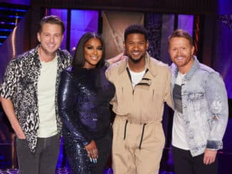 "SONGLAND -- ""Usher"" Episode 210 -- Pictured: (l-r) Ryan Tedder, Ester Dean, Usher, Shane McAnally -- (Photo by: Trae Patton/NBC)"