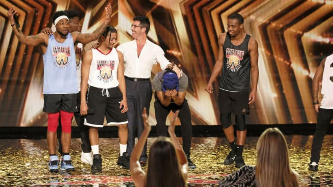 "AMERICA'S GOT TALENT -- ""Auditions"" Episode 1504 -- Pictured: (l-r) WAFFLE Crew, Simon Cowell -- (Photo by: Trae Patton/NBC)"