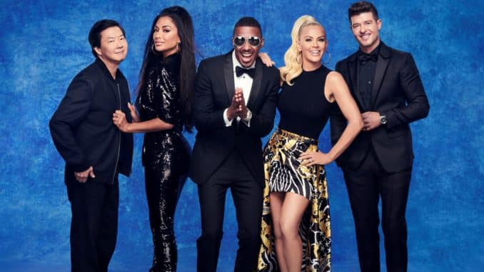 THE MASKED SINGER: L-R: Ken Jeong, Nicole Scherzinger, Nick Cannon, Jenny McCarthy and Robin Thicke. The Season Four premiere of THE MASKED SINGER airs Wednesday, Sept. 23 (9:00-10:00 PM ET/PT), on FOX. A special Sneak Peek episode of THE MASKED SINGER will air Sunday, Sept. 13 (8:00-9:00 PM ET/5:00-6:00 PM PT live to all time zones), following the first NFL double-header of the season. © 2020 FOX MEDIA LLC. CR: Michael Becker/FOX.