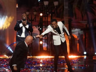 "AMERICA'S GOT TALENT -- ""Live Finale"" Episode 1524 -- Pictured: (l-r) Terry Crews, Howie Mandel, Brandon Leake -- (Photo by: Chris Haston/NBC)"