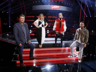 "THE VOICE -- ""Knockout Rounds"" Episode 1909 -- Pictured: (l-r) Blake Shelton, Kelly Clarkson, Gwen Stefani, John Legend -- (Photo by: Trae Patton/NBC)"