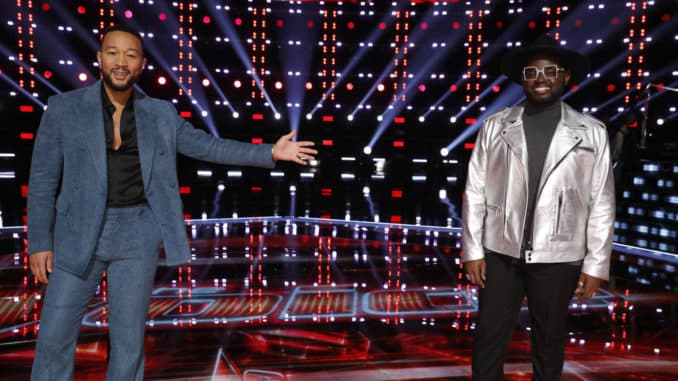 """THE VOICE -- """"Live Top 9 Results"""" Episode 1913B -- Pictured: (l-r) John Legend, John Holiday -- (Photo by: Trae Patton/NBC)"""