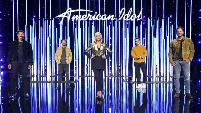 "AMERICAN IDOL - ABC's ""American Idol"" host Ryan Seacrest with judges Lionel Richie, Katy Perry and Luke Bryan, and in-house mentor Bobby Bones. (ABC/Eric McCandless)"