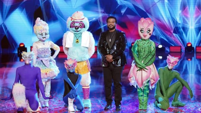 """THE MASKED DANCER: L-R: Cotton Candy, Sloth, Craig Robinson and Tulip in the """"Road to the Finals – Final Clues to the Mask!/ The Finale – One Last Mask!"""" special two-hour season finale of THE MASKED DANCER airing Wednesday, Feb. 17 (8:00-10:00 PM ET/PT) on FOX.  © 2021 FOX Media LLC."""