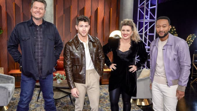 "THE VOICE -- ""Blind Auditions"" -- Pictured: (l-r) Blake Shelton, Nick Jonas, Kelly Clarkson, John Legend -- (Photo by: Trae Patton/NBC)"