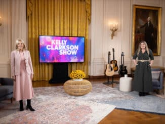 THE KELLY CLARKSON SHOW -- Episode 4105 -- Pictured: (l-r) Dr. Jill Biden, Kelly Clarkson -- (Photo by: White House/Chandler West)