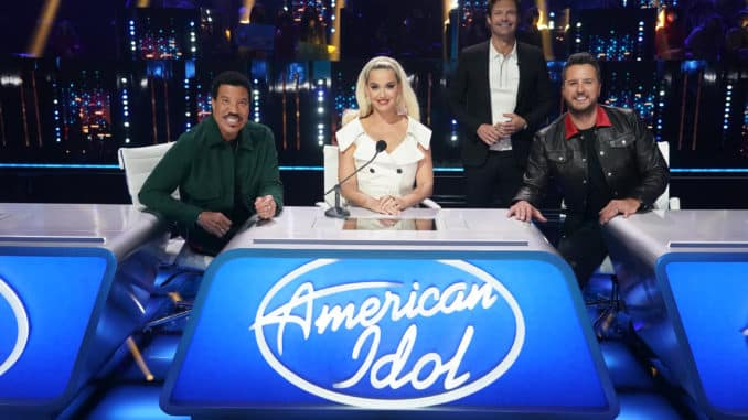 "AMERICAN IDOL – ""410 (All Star Duets and Solos)"" – Following last week's Showstopper round, ""American Idol"" continues with the All Star Duet and Solo round, SUNDAY, APRIL 4 (8:00-10:00 p.m. EDT), on ABC. (ABC/Eric McCandless) LIONEL RICHIE, KATY PERRY, RYAN SEACREST, LUKE BRYAN"