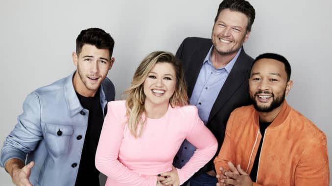 THE VOICE -- Season: 20 -- Pictured: (l-r) Nick Jonas, Kelly Clarkson, Blake Shelton, John Legend -- (Photo by: Art Streiber/NBC)