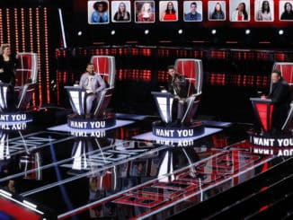 """THE VOICE -- """"Blind Auditions"""" Episode 2001 -- Pictured: (l-r) Kelly Clarkson, John Legend, Nick Jonas, Blake Shelton -- (Photo by: Trae Patton/NBC)"""