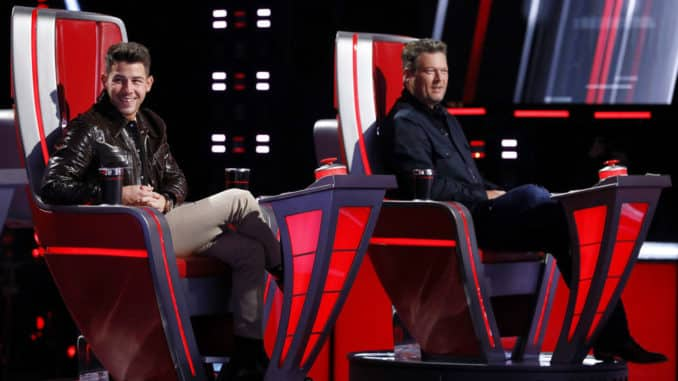 """THE VOICE -- """"Blind Auditions"""" Episode 2006 -- Pictured: (l-r) Nick Jonas, Blake Shelton -- (Photo by: Trae Patton/NBC)"""