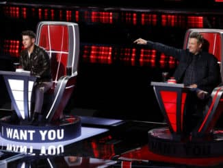 "THE VOICE -- ""Blind Auditions"" Episode 2004 -- Pictured: (l-r) Nick Jonas, Blake Shelton -- (Photo by: Trae Patton/NBC)"