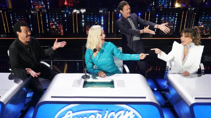 """AMERICAN IDOL - """"413 (Top 12 Live Reveal)"""" Ð """"American Idol"""" gets closer to crowning a winner as it continues on MONDAY, APRIL 12 (8:00-10:00 p.m. EDT), on ABC. Following AmericaÕs overnight vote, 10 contestants will be revealed from the Top 16, leaving six contestants to perform for a chance at one of two spots picked by the judges, rounding out the Top 12. (ABC/Eric McCandless) LIONEL RICHIE, KATY PERRY, RYAN SEACREST, PAULA ABDUL"""