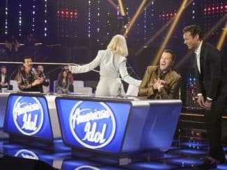 """AMERICAN IDOL – """"414 (Oscar Nominated Songs)"""" – The top 12 contestants perform Oscar®-nominated songs in hopes of securing America's vote into the top nine on an all-new episode of """"American Idol,"""" airing live coast-to-coast on SUNDAY, APRIL 18 (8:00-10:00 p.m. EDT), on ABC. (ABC/Eric McCandless) LUKE BRYAN, RYAN SEACREST"""