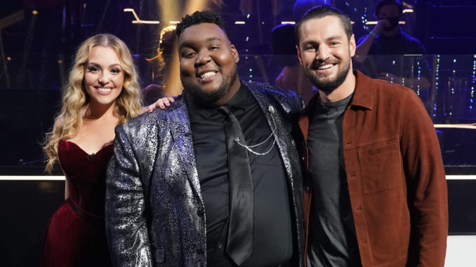 """AMERICAN IDOL - """"418 (My Personal Idol/Artist Singles)"""" - """"American Idol"""" gets closer to crowning its winner as the top four become the top three who will head to the finale on a live coast-to-coast episode airing SUNDAY, MAY 16 (8:00-10:00 p.m. EDT), on ABC. (ABC/Eric McCandless) GRACE KINSTLER, WILLIE SPENCE, CHAYCE BECKHAM"""