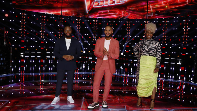 """THE VOICE -- """"Live Top 17 Results"""" Episode 2012B -- Pictured: Victor Solomon, John Legend, Pia Renee -- (Photo by: Trae Patton/NBC)"""