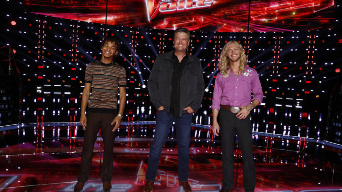 """THE VOICE -- """"Live Top 17 Results"""" Episode 2012B -- Pictured: Cam Anthony, Blake Shelton, Jordan Matthew Young -- (Photo by: Trae Patton/NBC)"""
