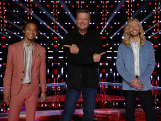 """THE VOICE -- """"Live Top 9 Results"""" Episode 2013B -- Pictured: (l-r) Cam Anthony, Blake Shelton, Jordan Matthew Young -- (Photo by: Trae Patton/NBC)"""