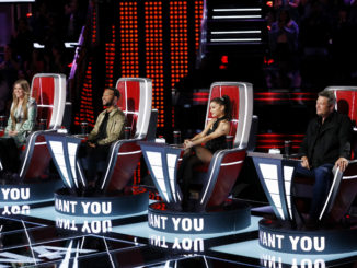 """THE VOICE -- """"Blind Auditions"""" -- Pictured: (l-r) Kelly Clarkson, John Legend, Ariana Grande, Blake Shelton -- (Photo by: Trae Patton/NBC)"""