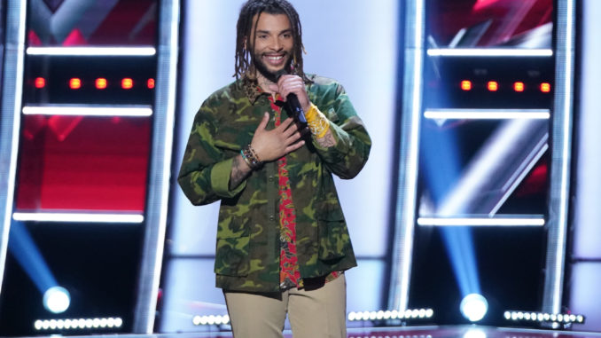 """THE VOICE -- """"Blind Auditions"""" Episode 2102 -- Pictured: Samuel Harness -- (Photo by: Tyler Golden/NBC)"""